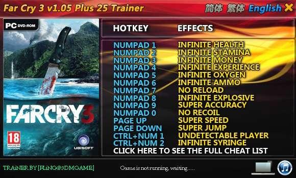Far Cry 3 1.05 +25 Trainer [FliNG]